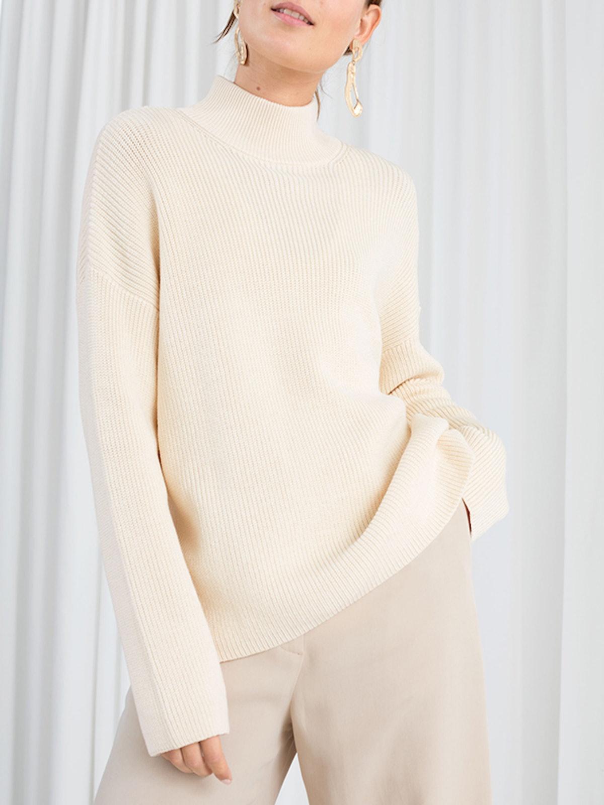 Cotton Blend Mock Neck Sweater