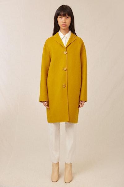 Wool Cashmere Classic Coat in Mustard