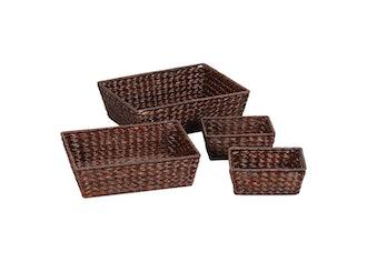 Banana Leaf Baskets Set of 4 - Dark Brown
