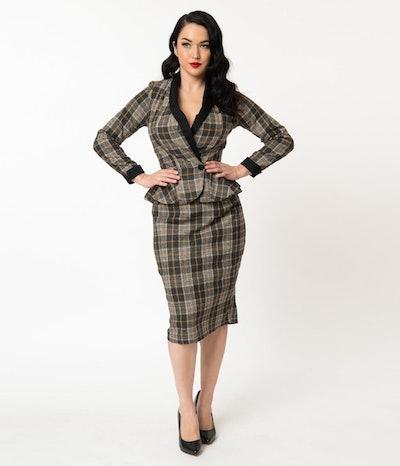 1940s Grey & Mustard Plaid Woven Millie Pencil Skirt