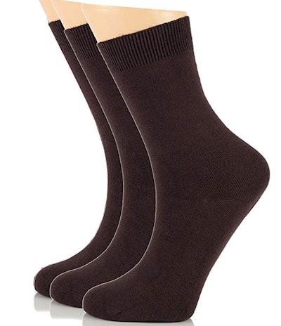 LAETAN Women's Bamboo Dress Socks (3 Pairs)