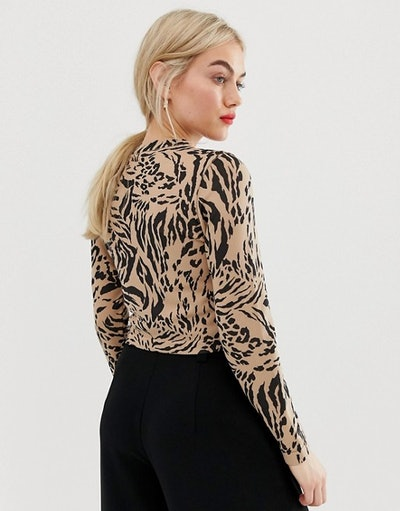 ASOS DESIGN Petite crew neck sweater in mixed animal