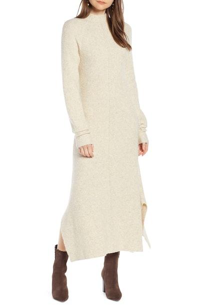 Mock Neck Maxi Sweater Dress