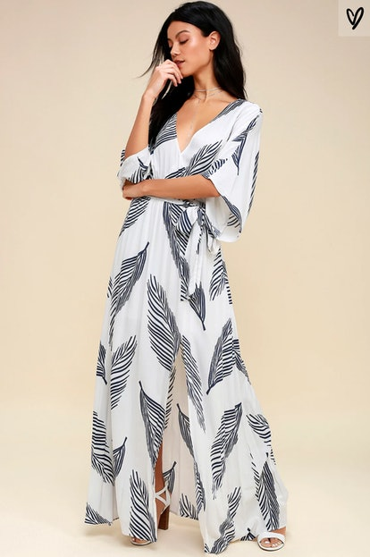 Sign Of The Times White And Navy Blue Leaf Print Maxi Dress