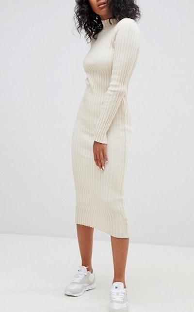 Midi Dress in Ribbed Knit