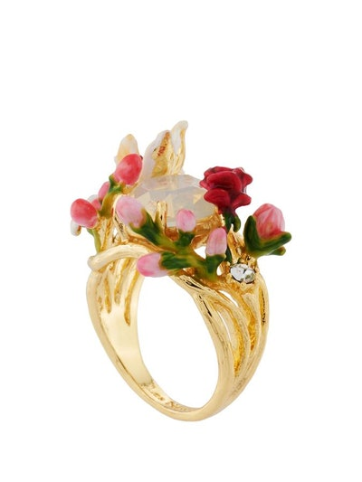 Ballad In Versailles Multi Flowers And Buds On Stone Ring
