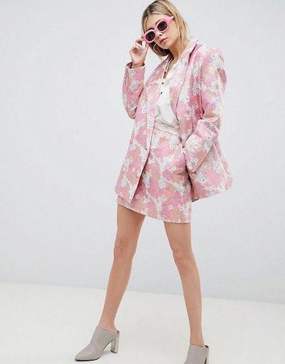 Tailored Floral Jacquard Blazer & Mini Skirt Suit