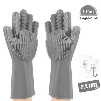 MOOKZZ Magic Saksak Silicone Dishwashing Gloves with Wash Scrubber