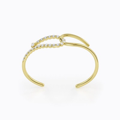 Q Double Cuff Bracelet in Yellow Gold