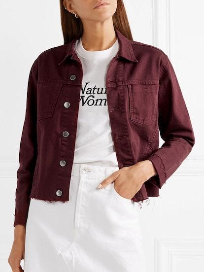Janelle Cropped Frayed Denim Jacket