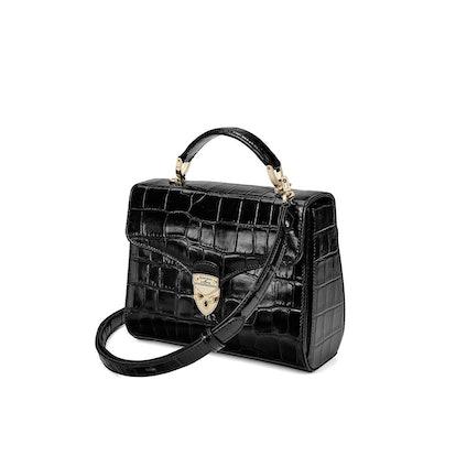 "Midi Mayfair Bag in ""Black Croc"""