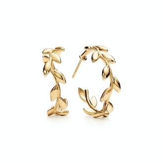 Paloma Picasso Olive Leaf Hoop Earrings