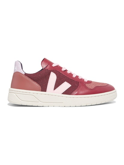 V-10 Leather, Suede, And Tweed Sneakers