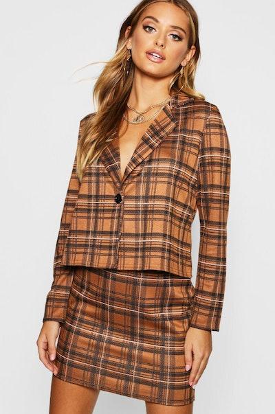 Knitted Check Blazer & Skirt Set