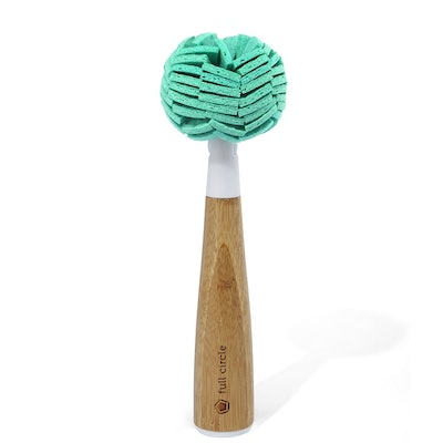 Full Circle Crystal Glass Cleaning Sponge with Bamboo Handle