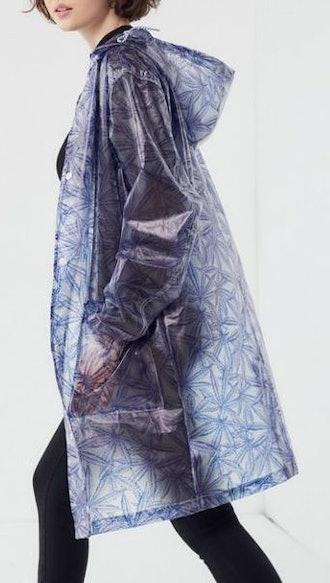Leaf Snap Button-Front Rain Jacket