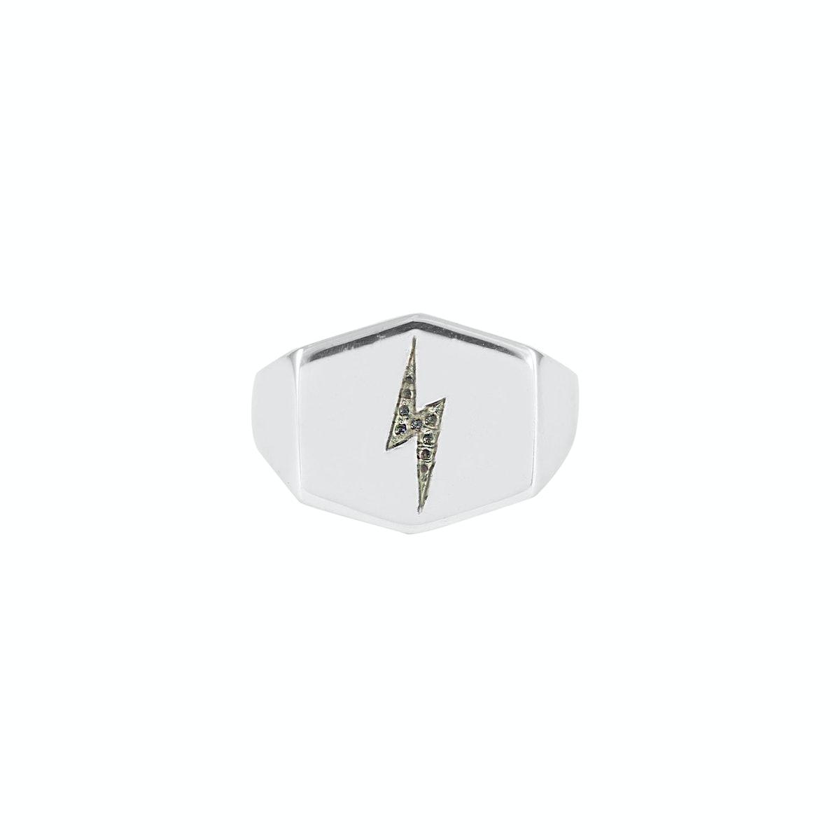 Lightning Bolt Shield Signet Ring