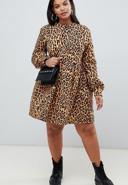 Rokoko Plus oversized smock sweat dress in leopard print