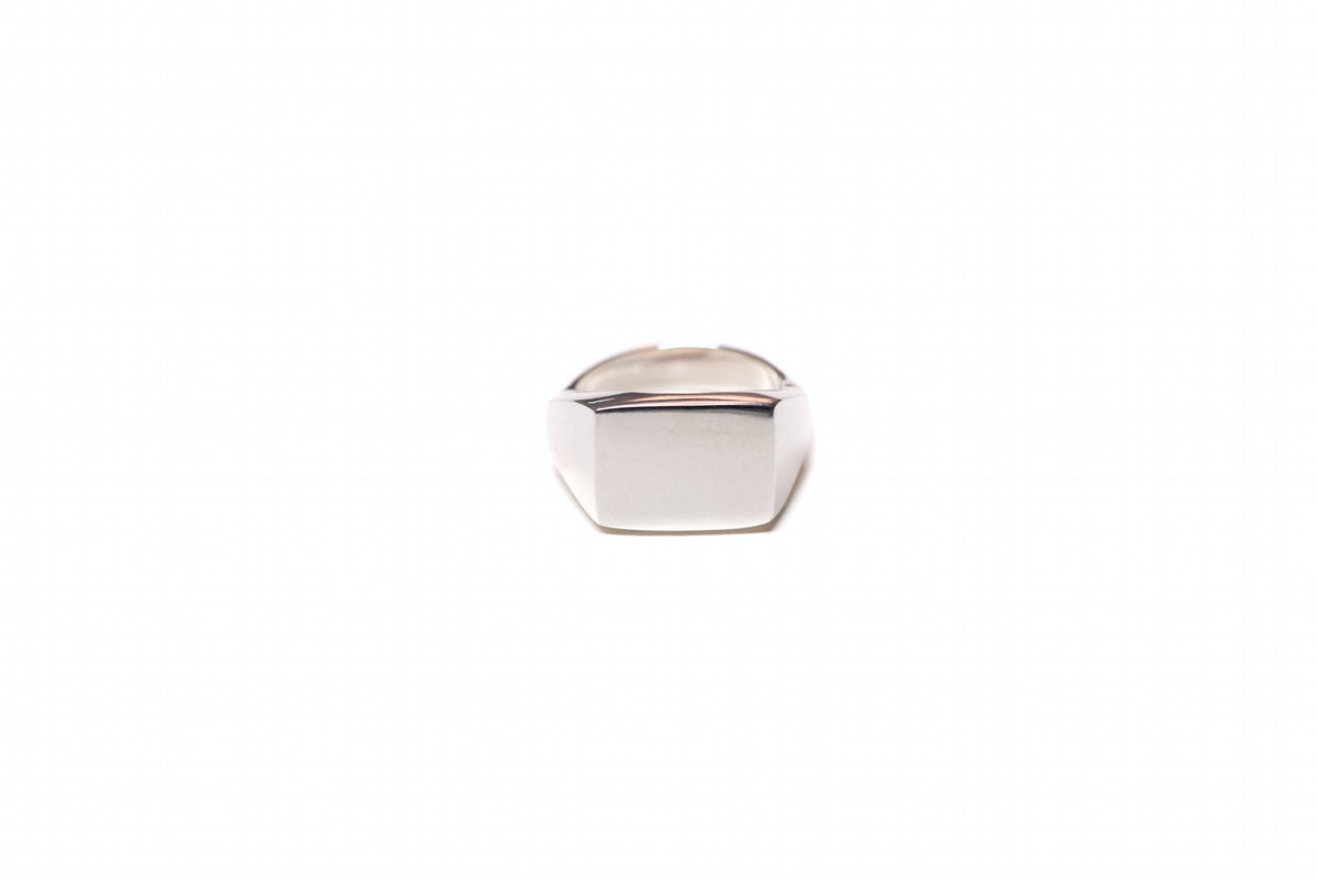 Delicate Signet Ring in High Shine Brass