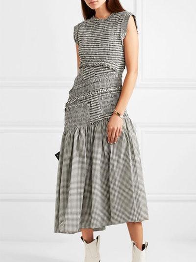 Shirred Gingham Cotton-Blend Midi Dress