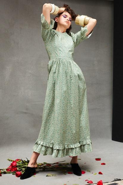 Blue Vine Long Prairie Dress
