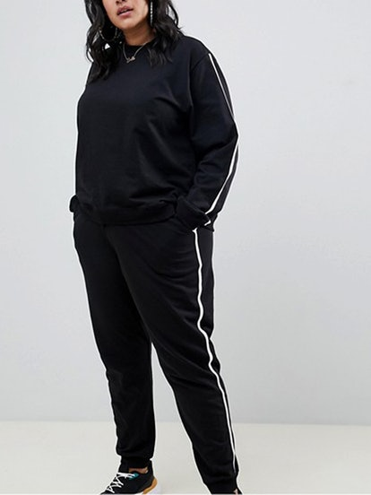 Tracksuit Cute Sweat/Basic Jogger With Tie & Contrast Binding