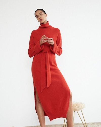 Turtleneck Knit Dress - Red
