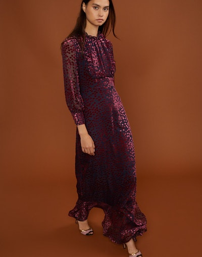 Bella Flocked Hearts Maxi Dress