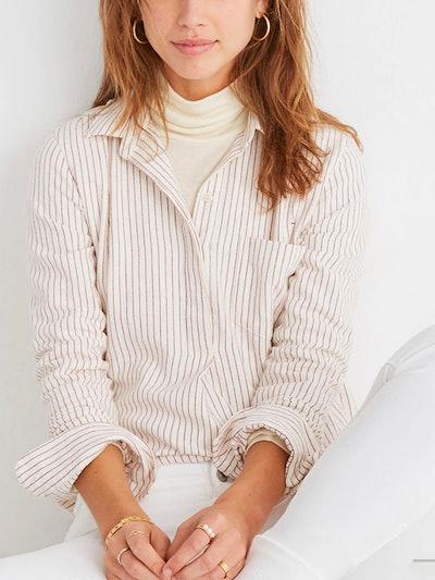 Flannel Classic Ex-Boyfriend Button-Back Shirt in Stripe