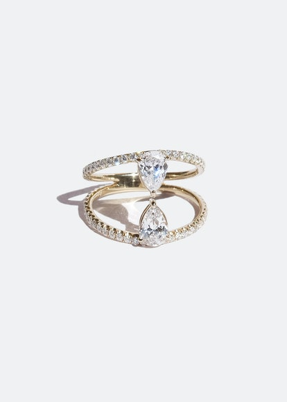 Duét Pear Pavé Ring