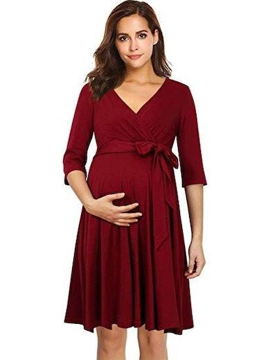 Coolmee Women's Wrap Maternity Dress Half Sleeve Empire Waist Midi Dress with Belt