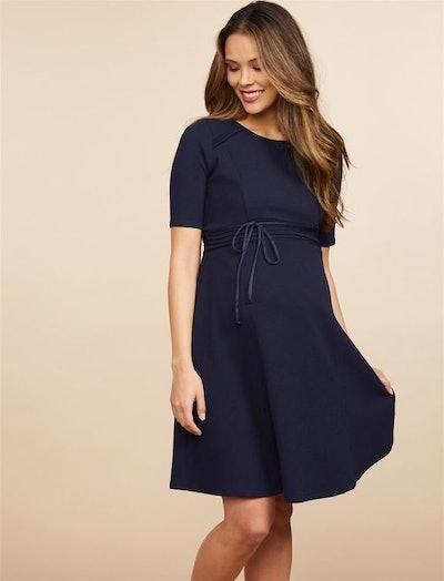Pleated Waist Maternity Dress
