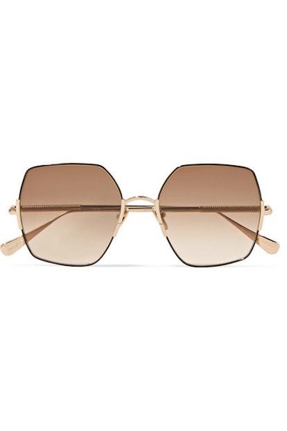 Eden Oversized Square-Frame Gold-Tone Sunglasses