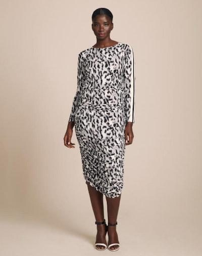 Norma Kamali Side Stripe Long Sleeve Shirred Dress