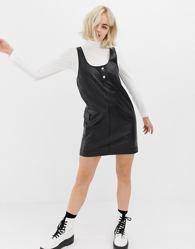 Collusion Leather Look Pinny Dress