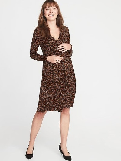 Maternity Cross-Front Waist-Defined Dress