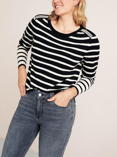 Striped Appliqué Sweater