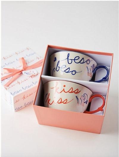 Kisses Mugs, Set of 2