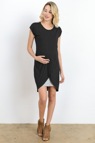 Two-colored layered nursing dress