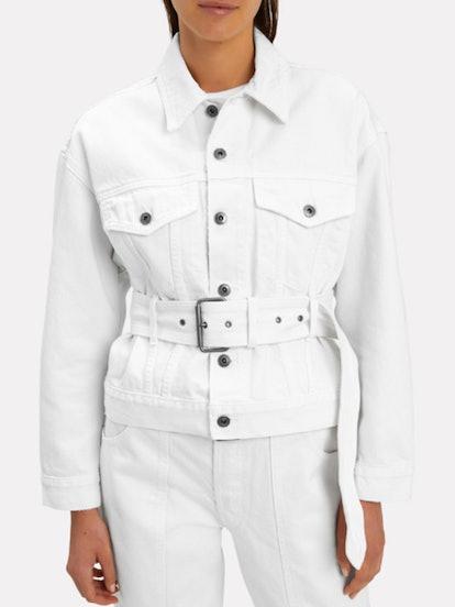Belted White Denim Jacket