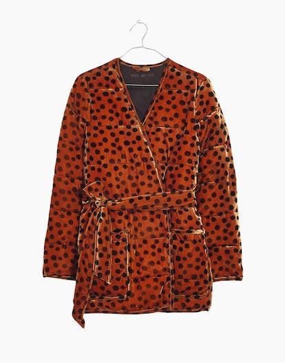 Madewell Velvet Quilted Kimono Jacket in Leopard Dot