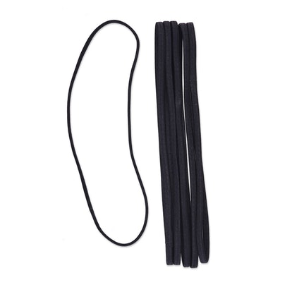 6mm Flat No Damage Elastic Headwraps Black - 6pk
