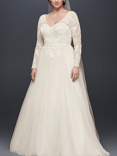 Plus Size Long Sleeve Wedding Dress With Low Back