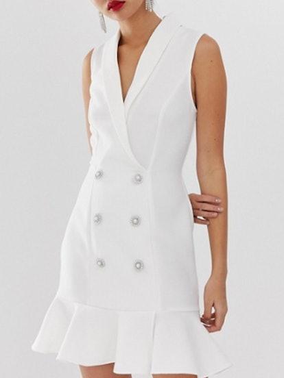 Tuxedo Dress With Peplum