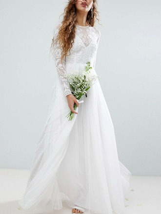 Embroidered Bodice Wedding Maxi Dress