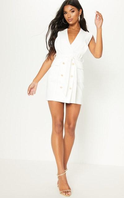 White Sleeveless Gold Button Detail Blazer Dress