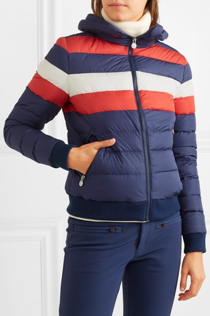 Queenie Striped Quilted Down Jacket