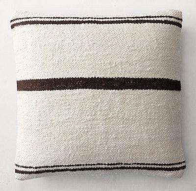 Hand-Spun Linen and Jute Multi-Stripe Pillow Cover - Square