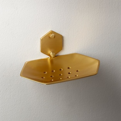 Hex Brass Wall Mounted Soap Dish