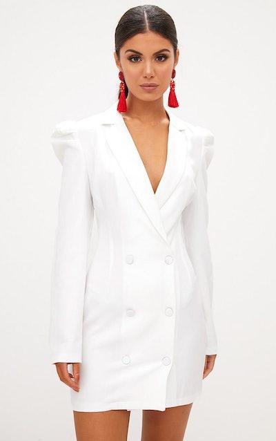 White Puff Sleeve Button Up Blazer Dress